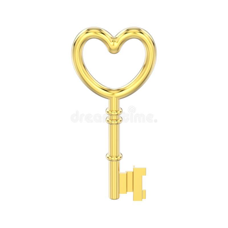 Illustration 3D lokalisierte gelbes Golddekorativen Schlüssel in der Form vektor abbildung
