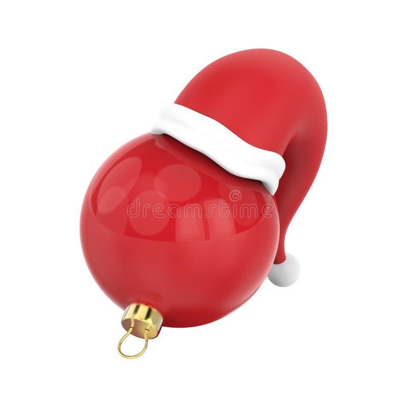 Illustration 3D lokalisierte neues Jahr roten Weihnachtsball im Sant vektor abbildung
