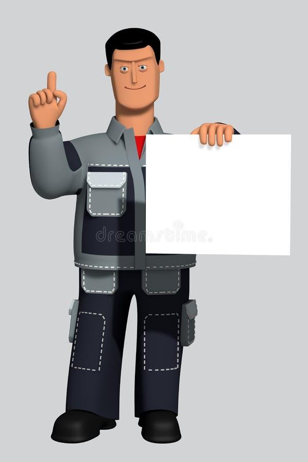 Illustration 3d männliche Rolle in Arbeitsuniform erregt Aufmerksamkeit und zeigt ein leeres Zeichen vektor abbildung