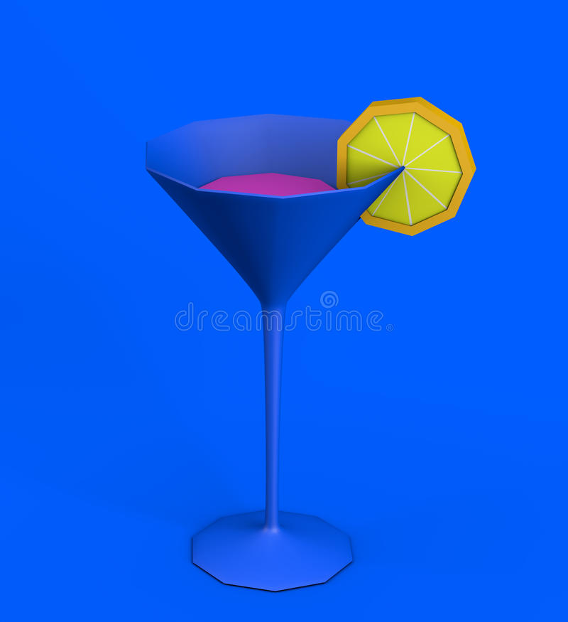 Illustration 3d Martini-des Mattcocktailglases auf blauem backgrou vektor abbildung