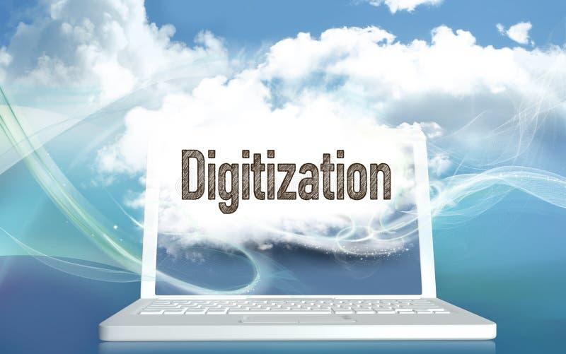 illustration 3D med Digitizationbegrepp royaltyfri illustrationer
