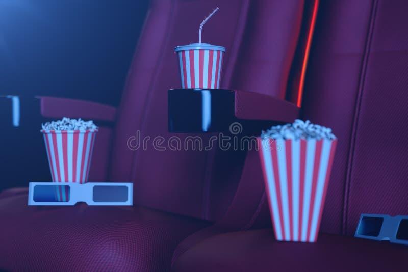 illustration 3D med popcorn, exponeringsglas 3d och stolar, med blått ljus Begreppsbiokorridor och teater Röda stolar i arkivfoton