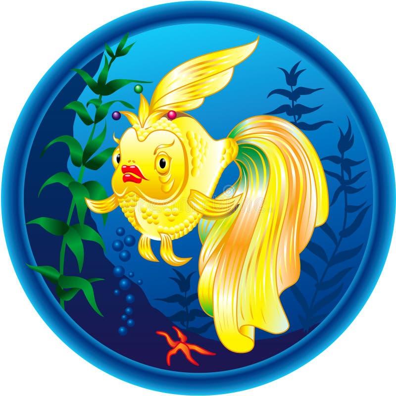 Illustration d'or merveilleuse de poissons illustration libre de droits