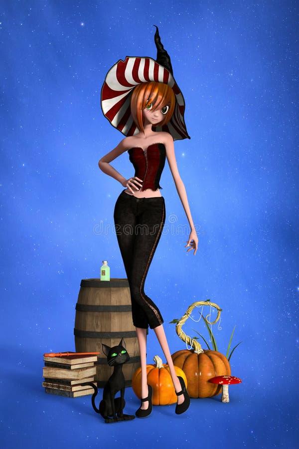 Illustration 3D mignonne de sorcière utilisant un chapeau de style traditionnel avec son chat noir aux yeux verts sur son côté illustration stock