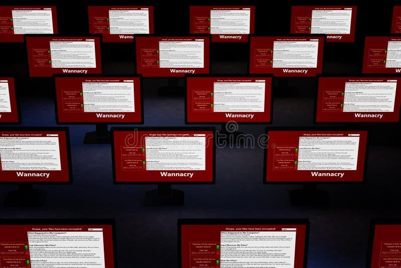 Illustration 3d mit Konzept des Computervirus Wannacry lizenzfreie stockbilder