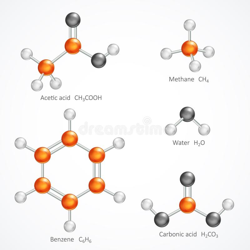 Illustration of 3d molecular structure, ball and stick molecule model acetic acid, methane, water, benzene, carbonic acid, stock illustration