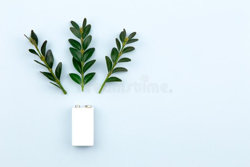 Illustration d'?nergie ou d'?nergie verte d'Eco avec une batterie blanche et des feuilles de brins sur un fond clair avec l'espac image stock