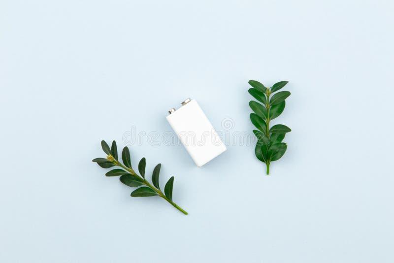 Illustration d'?nergie ou d'?nergie verte d'Eco avec une batterie blanche et des feuilles de brins sur un fond clair avec l'espac photographie stock libre de droits