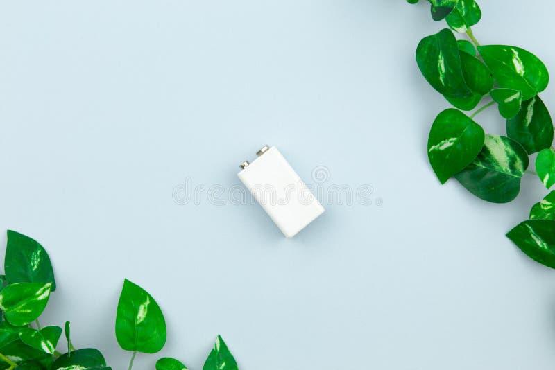 Illustration d'?nergie ou d'?nergie verte d'Eco avec une batterie blanche et des feuilles de brins sur un fond clair avec l'espac photos stock