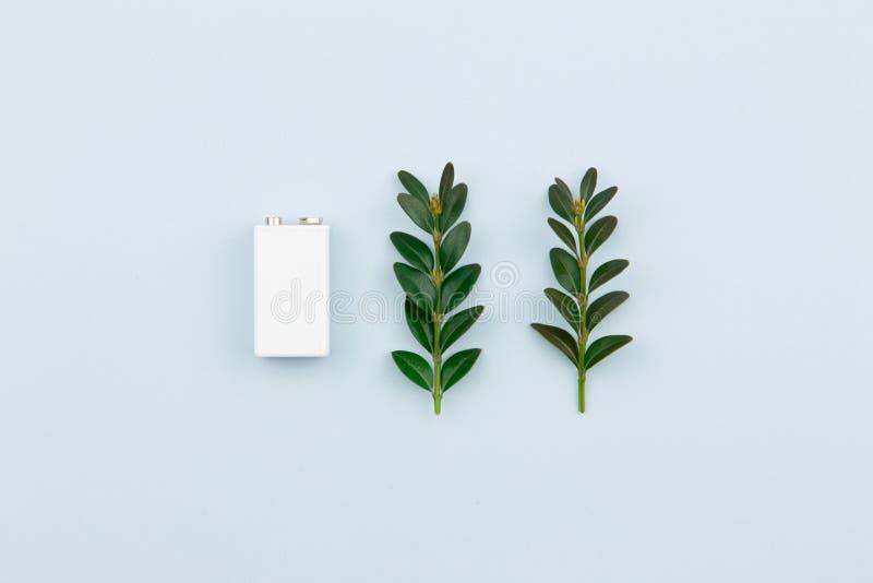 Illustration d'?nergie ou d'?nergie verte d'Eco avec une batterie blanche et des feuilles de brins sur un fond clair avec l'espac photos libres de droits