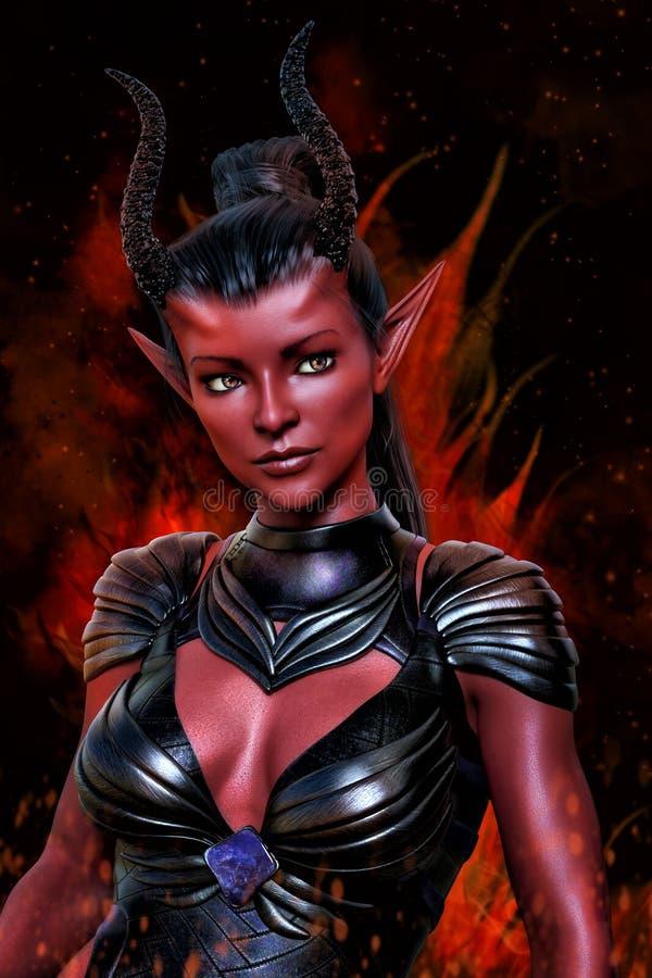 illustration 3D numérique d'une belle imagination ardente de démon ou d'une femme étrangère illustration libre de droits
