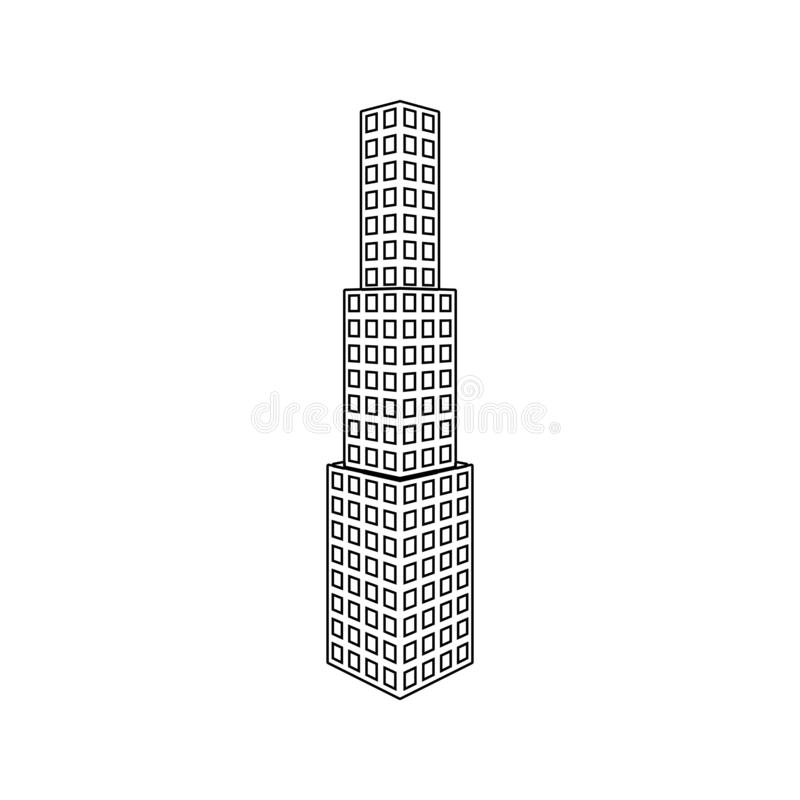 illustration of 3d office building icon. Element of 3d building for mobile concept and web apps icon. Thin line icon for website stock illustration