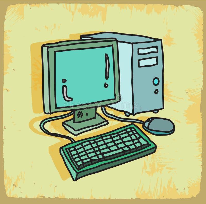 Illustration d'ordinateur de bande dessinée, icône de vecteur illustration de vecteur