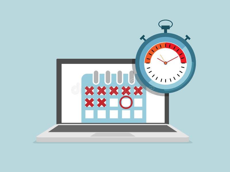 Illustration d'ordinateur portable avec le programme de calendrier et de chronomètre illustration libre de droits