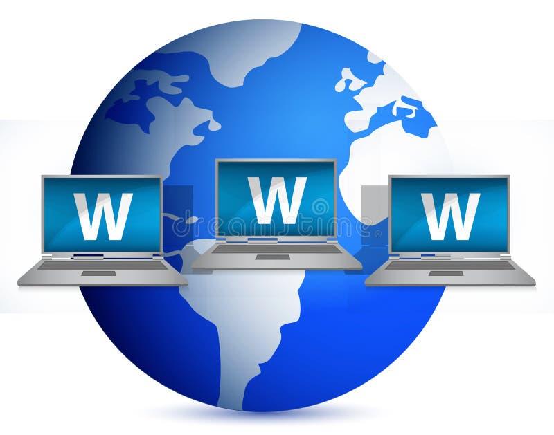 Illustration d'ordinateur portatif et de globe de gestion de réseau illustration stock