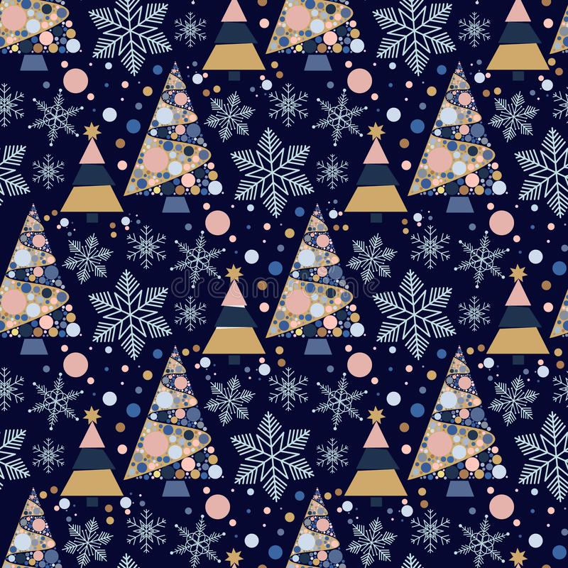 Illustration d'ornement de célébration d'étoile de neige de décembre de saison de conception de sapin de vacances d'arbre de Noël illustration libre de droits