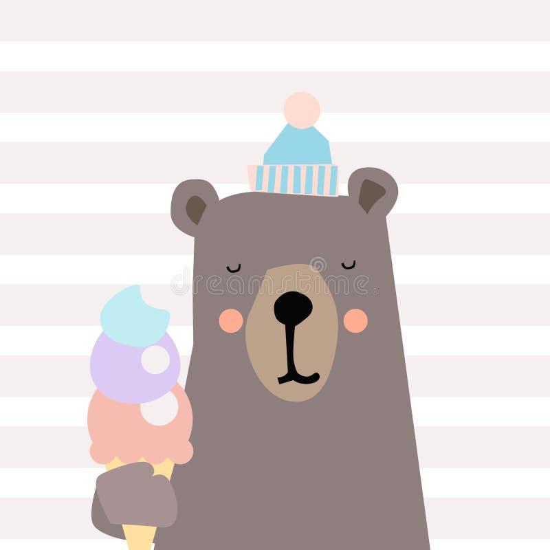 Illustration d'ours mignon Petit ours de bande dessinée mignonne Illustration de vecteur illustration stock