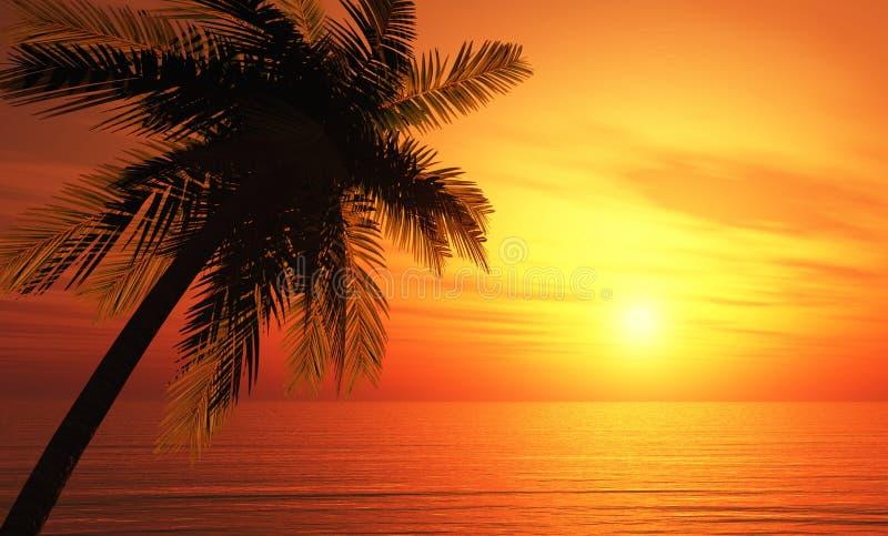 Illustration 3D Palmtree-Sonnenuntergang lizenzfreie abbildung