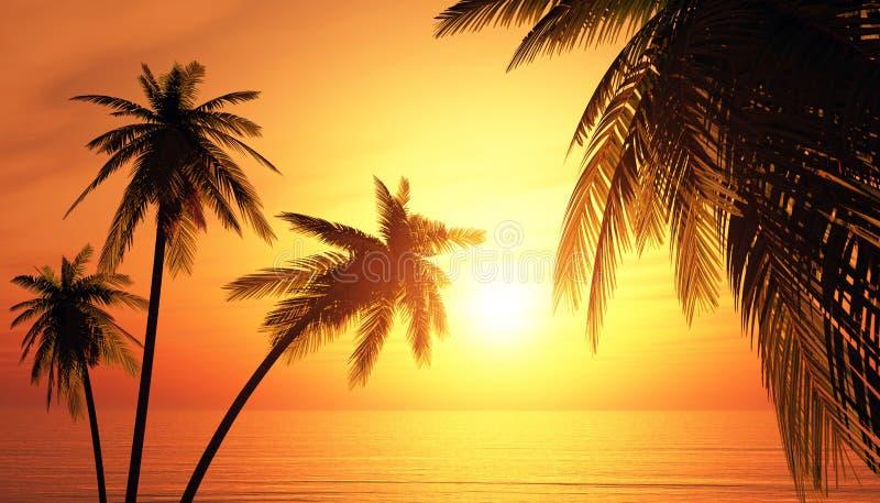 Illustration 3D Palmtree-Sonnenuntergang 2 stock abbildung