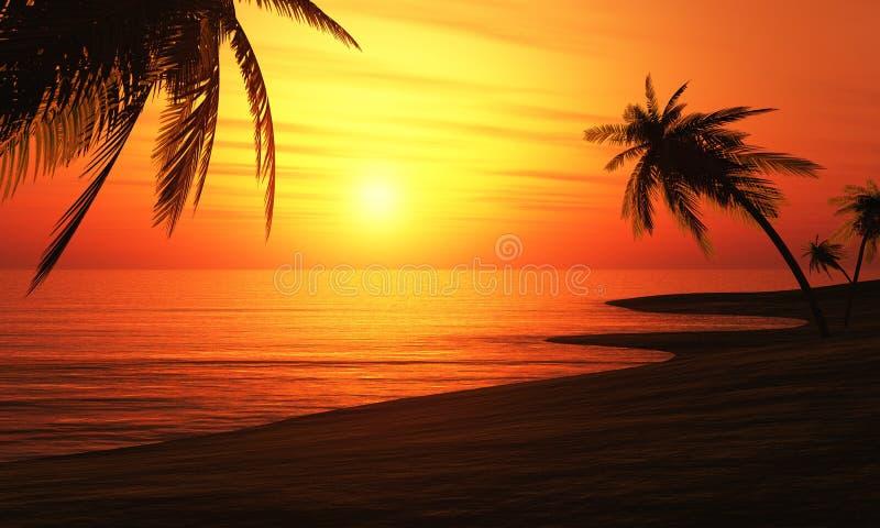 Illustration 3D Palmtree-Sonnenuntergang 3 lizenzfreie abbildung
