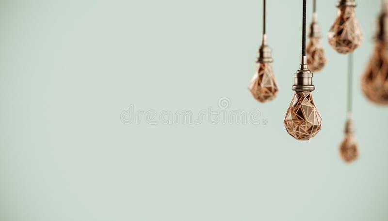 Illustration 3d peu commune de basses poly ampoules stylis?es accrochantes avec le fil d'or poires d'isolement vertes conceptuell illustration de vecteur