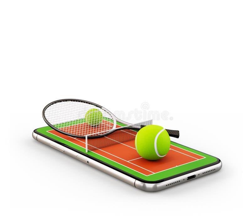Illustration 3d peu commune d'une balle de tennis et d'une raquette sur la cour sur un ?cran de smartphone illustration libre de droits
