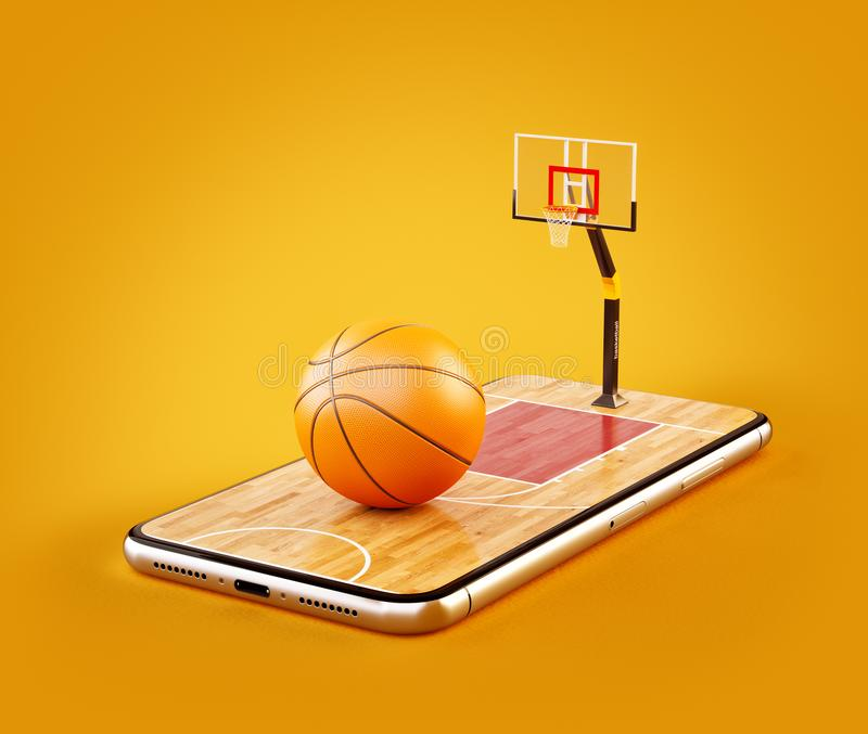 Illustration 3d peu commune d'une boule de basket-ball sur la cour sur un écran de smartphone illustration libre de droits