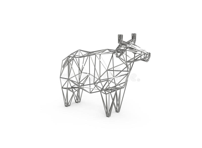 illustration 3D polygonale de vache faite en chiffre de fil illustration stock