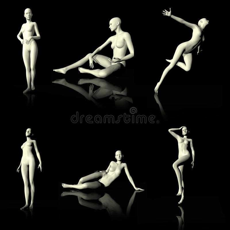 Illustration 3D Presenting Naked Mannequin. Stock Illustration