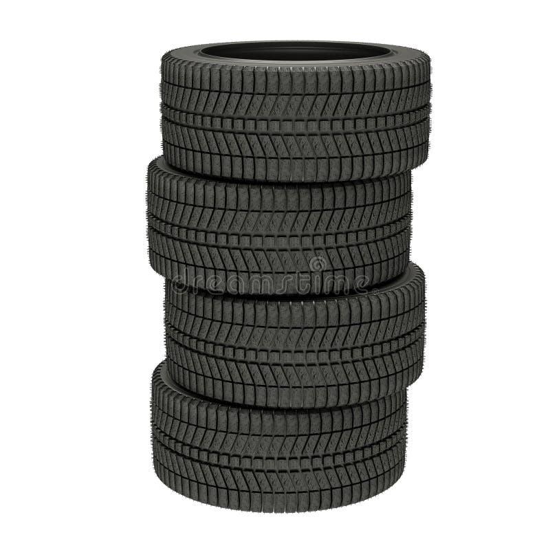 illustration 3d quatre pneus d'hiver d'isolement images stock