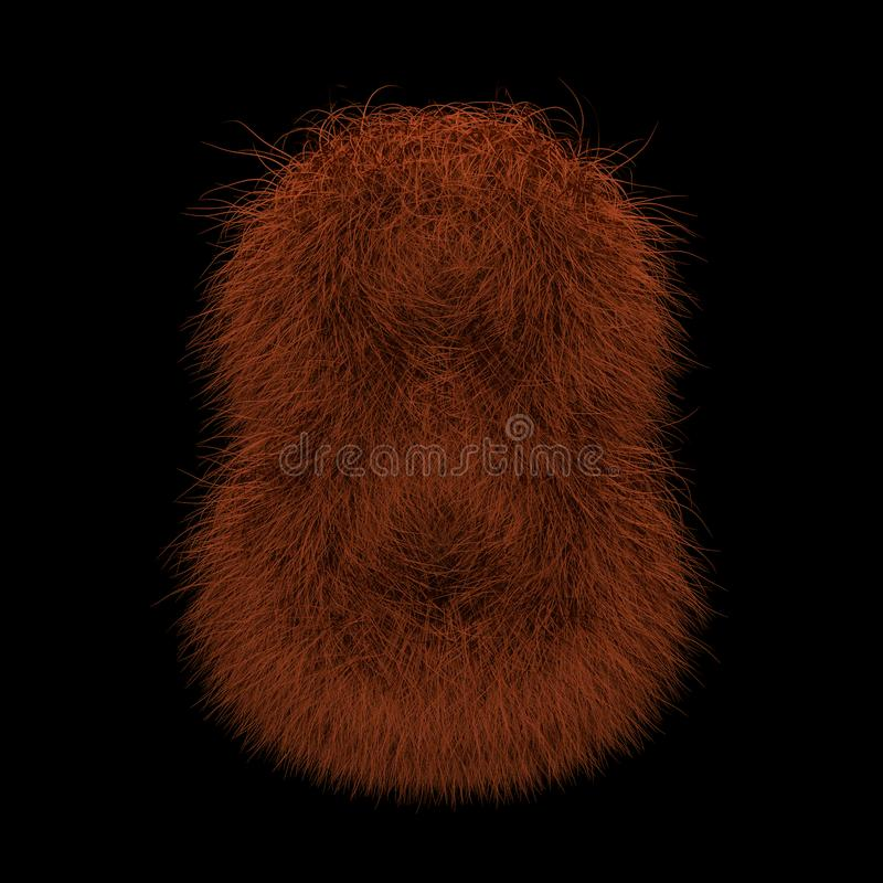 3D Rendering Creative Illustration Ginger Orangutan Furry Number 8 royalty free stock photography