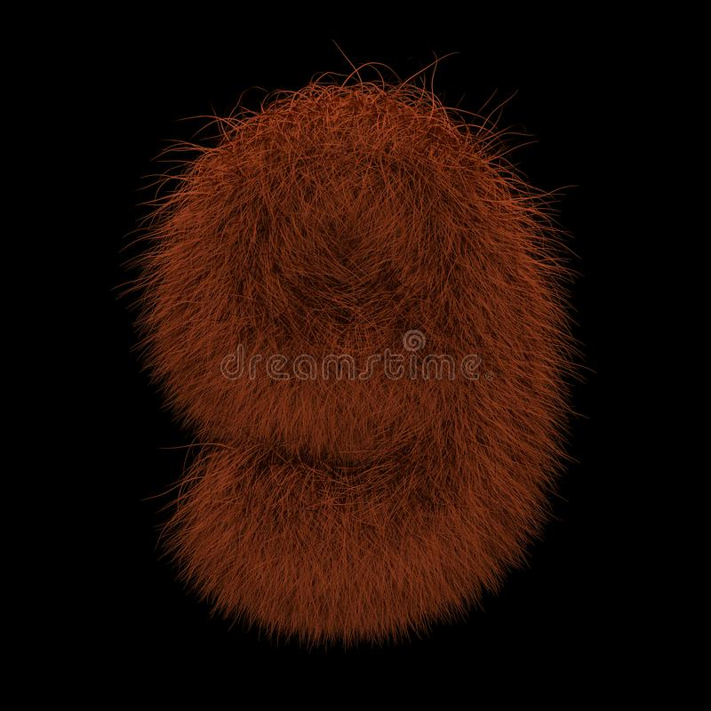3D Rendering Creative Illustration Ginger Orangutan Furry Number 9 stock photography