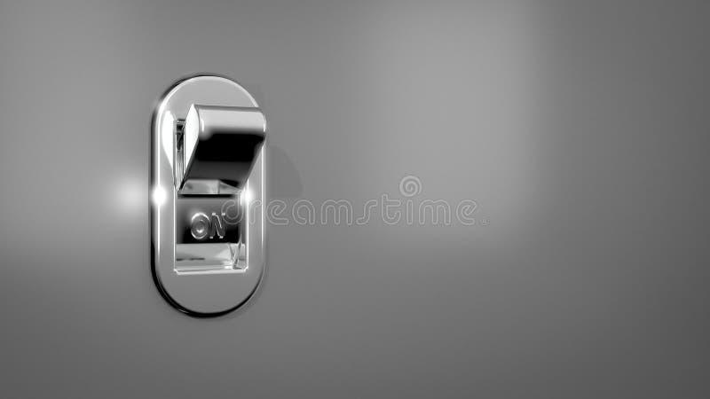 illustration 3D/rendu d'un interrupteur de lampe de chrome dans la position de fonctionnement sur un mur gris illustration stock