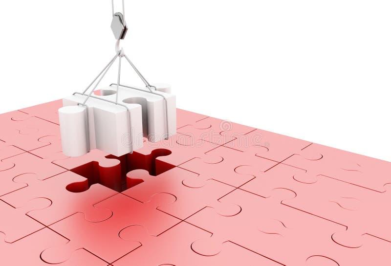 illustration 3d sista styckpussel för jigsaw vektor illustrationer
