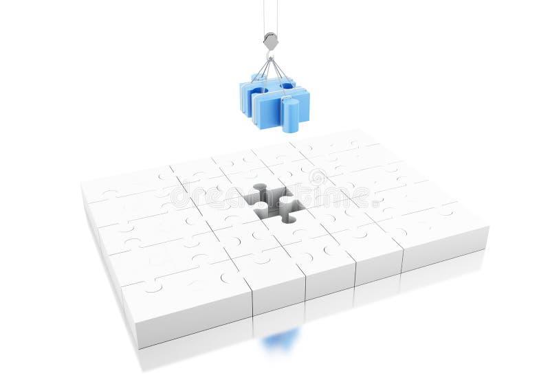 illustration 3d sista styckpussel för jigsaw stock illustrationer