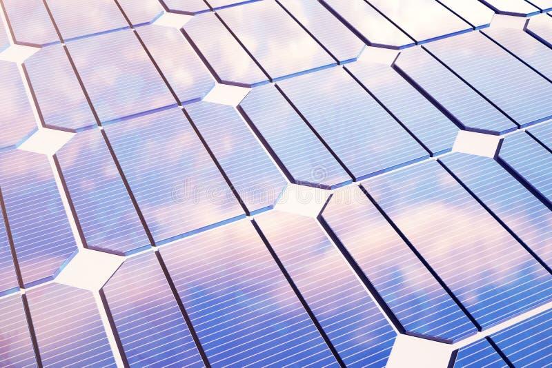 Illustration 3D Solarenergiekonzept Sonnenunterganghimmelreflexion auf photo-voltaischer Platte Energie, Ökologie, Technologie vektor abbildung