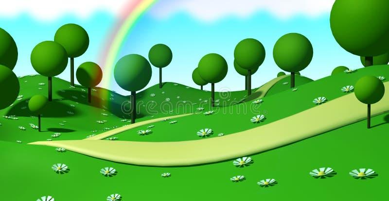 illustration 3d Stylized parkerar landskap med träd stock illustrationer