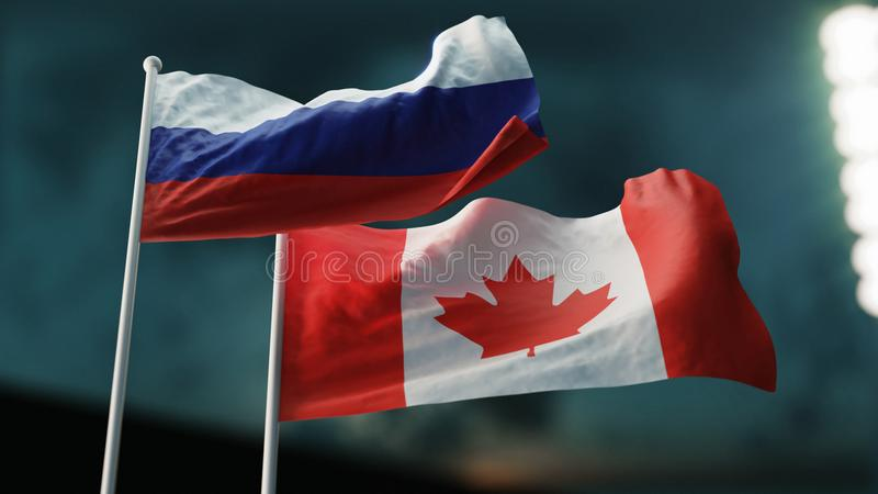illustration 3d Två flaggor som vinkar på vind Internationellt förhållandebegrepp Ryssland Kanada ÅRA royaltyfri illustrationer