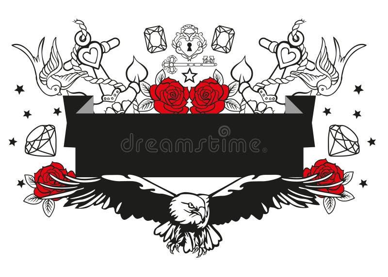 Illustration d'un aigle entouré par les ancres roses et d'autres éléments de vecteur illustration libre de droits
