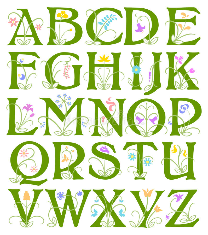 Alphabet de fleur illustration stock