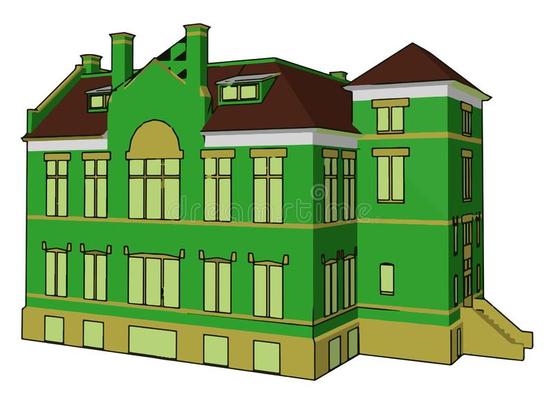 Illustration d'un bâtiment simple au vecteur ou à la couleur complexe illustration stock