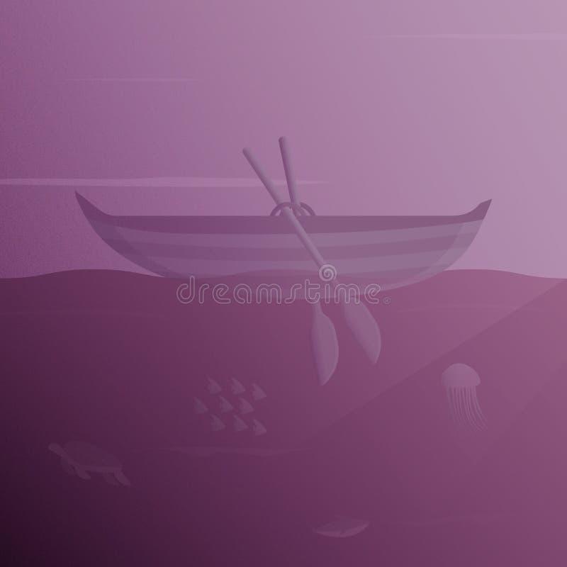 Illustration d'un bateau de flottement avec les créatures sous-marines de vue et de mer illustration libre de droits