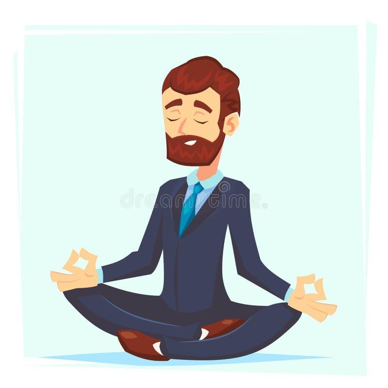 Illustration d'un calme, jeune homme d'affaires de bande dessinée s'asseyant en tailleur, de sourire et méditant wor de bureau de illustration libre de droits