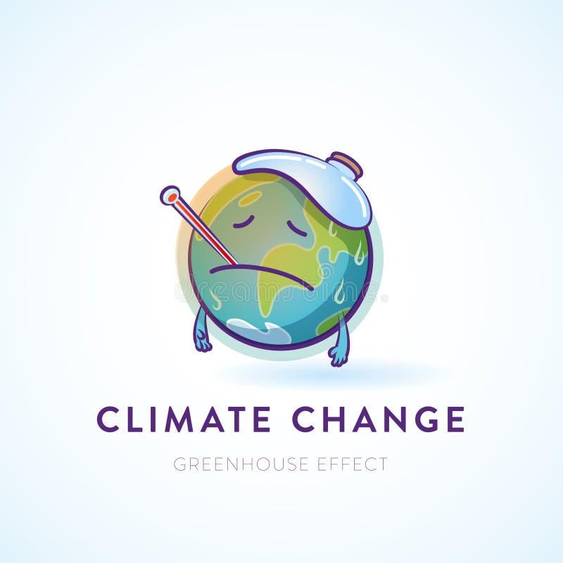 Illustration d'un caractère triste de la terre avec une fièvre illustration stock