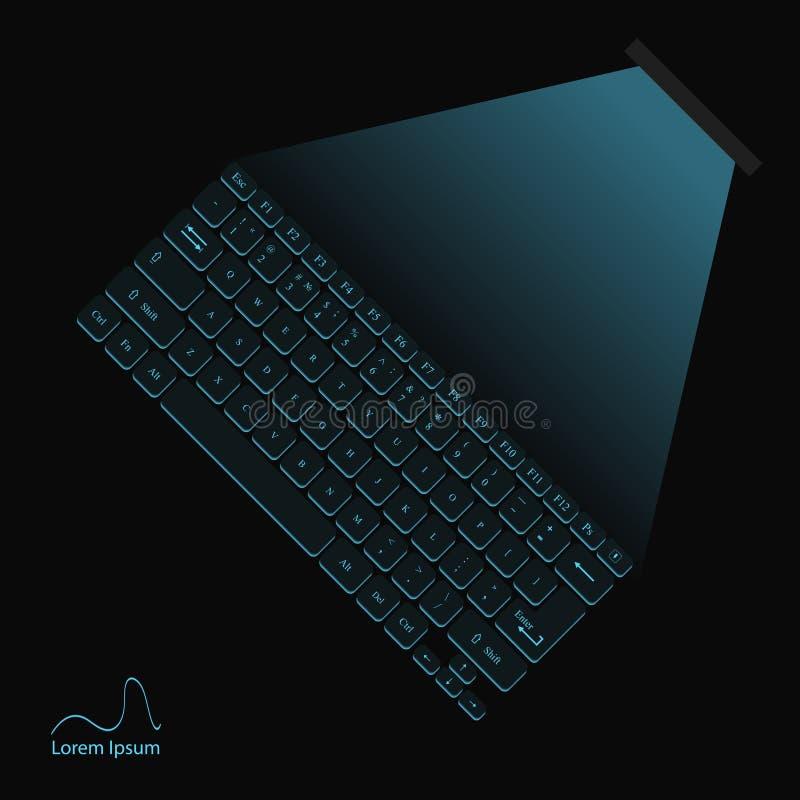 Illustration d'un clavier virtuel bleu au néon de laser illustration stock