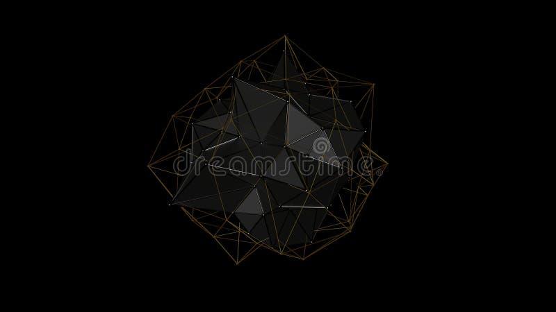 illustration 3D d'un cristal en métal de la forme irrégulière, basse figure abstraite polygonale, sur un fond noir Conception fut photographie stock
