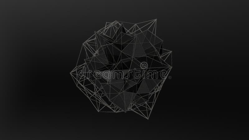 illustration 3D d'un cristal noir de la forme irrégulière, basse figure abstraite polygonale, sur un fond noir Conception futuris illustration stock