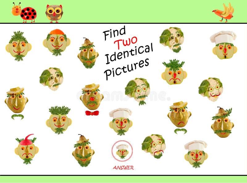 Illustration d'un dessin montrant la même image Jeu éducatif pour les enfants d'âge préscolaire photos stock