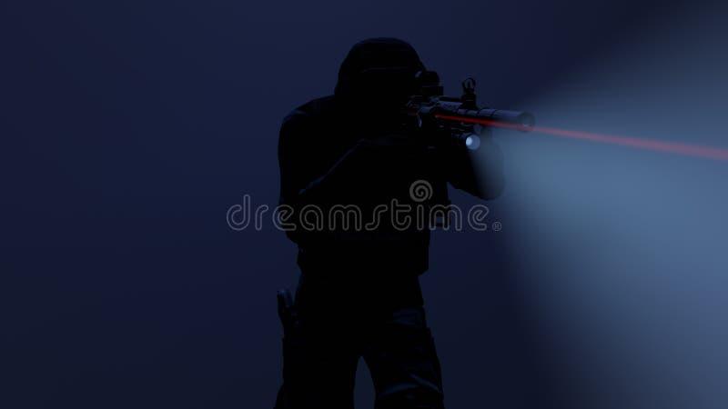 illustration 3d d'un dirigeant de coup dans l'action avec la vue de lampe-torche et de laser dessus illustration libre de droits