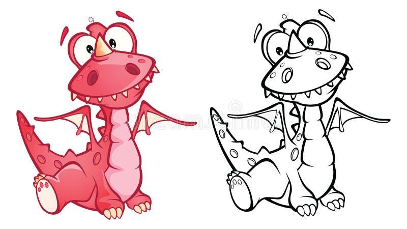 Illustration d'un dragon rouge mignon le chef heureux de crabots mignons effrontés de personnage de dessin animé de fond a isolé  illustration libre de droits